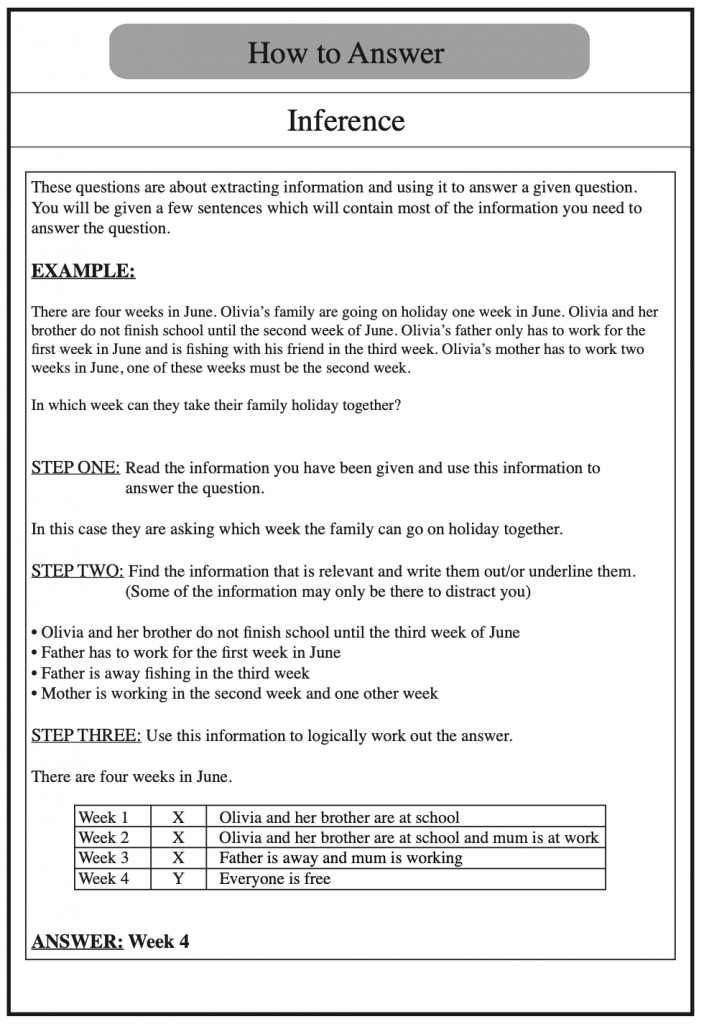Example of how to answer verbal reasoning questions on inference, taken from Redbridge Publishing Verbal Reasoning Books