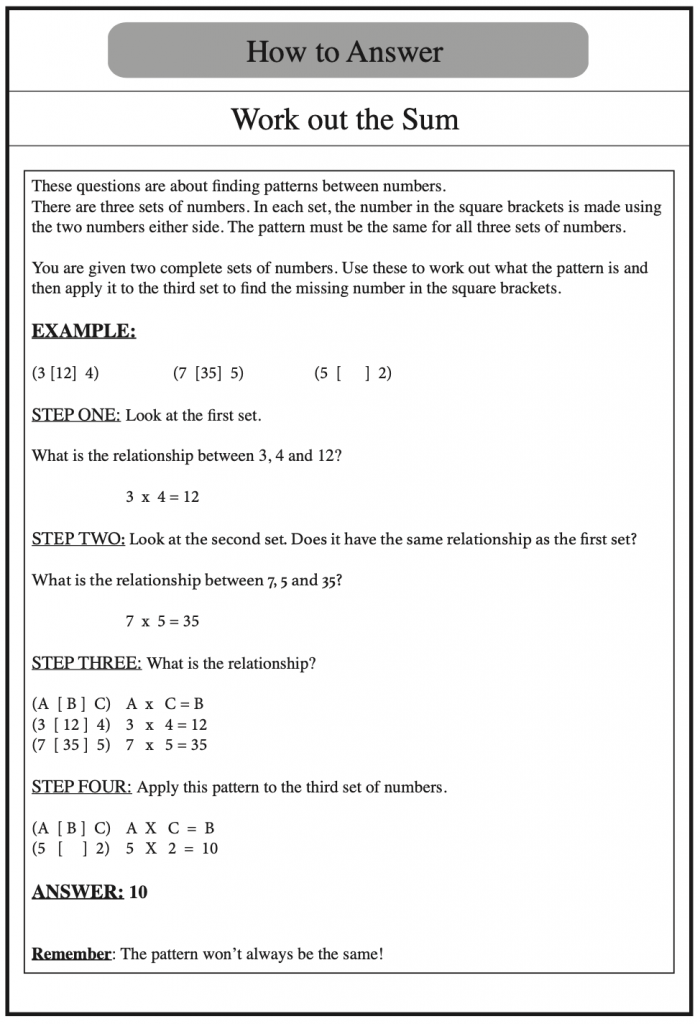 Example of how to answer verbal reasoning questions on working out the sum, taken from Redbridge Publishing Verbal Reasoning Books