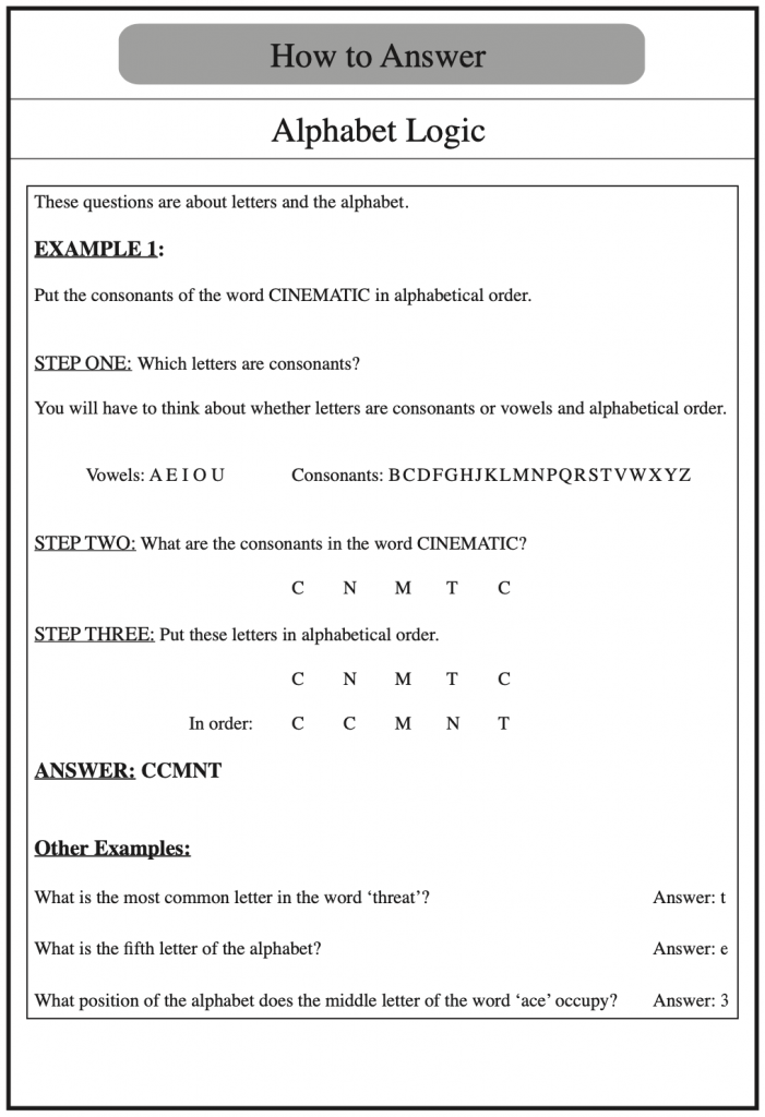 Example of how to answer verbal reasoning questions on alphabet logic, taken from Redbridge Publishing Verbal Reasoning Books