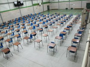 An empty examination room ready for 2021 exams that will be left empty.