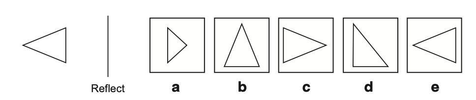 Example of a reflection non-verbal reasoning question taken from Non-Verbal Reasoning 11 plus Practice Papers published by Redbridge Publishing