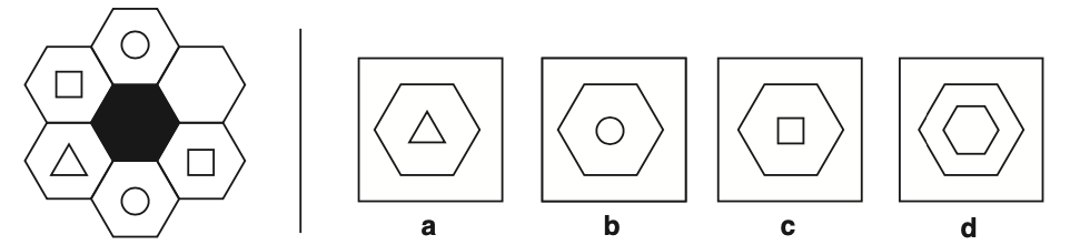 Example of a hexagonal matrices non-verbal reasoning question taken from Non-Verbal Reasoning 11 plus Practice Papers published by Redbridge Publishing