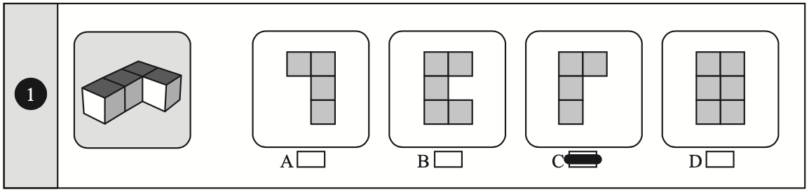 Example of a plan view non-verbal reasoning question taken from Non-Verbal Reasoning 11 plus Practice Papers published by Redbridge Publishing