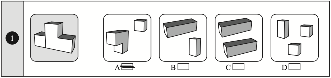 Example of a compound shape non-verbal reasoning question taken from Non-Verbal Reasoning 11 plus Practice Papers published by Redbridge Publishing