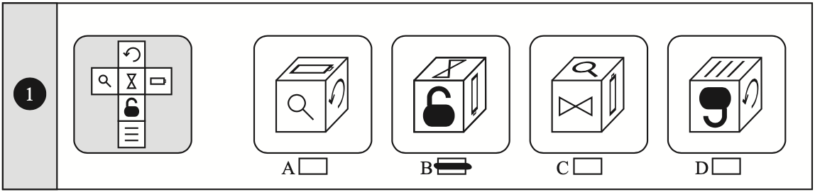Example of a non-verbal reasoning cubes question taken from Non-Verbal Reasoning 11 plus Practice Papers published by Redbridge Publishing
