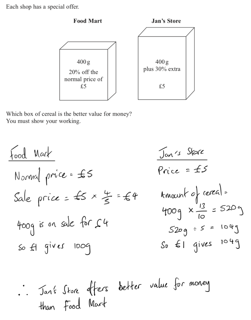 Edexcel Maths Foundation GCSE Question